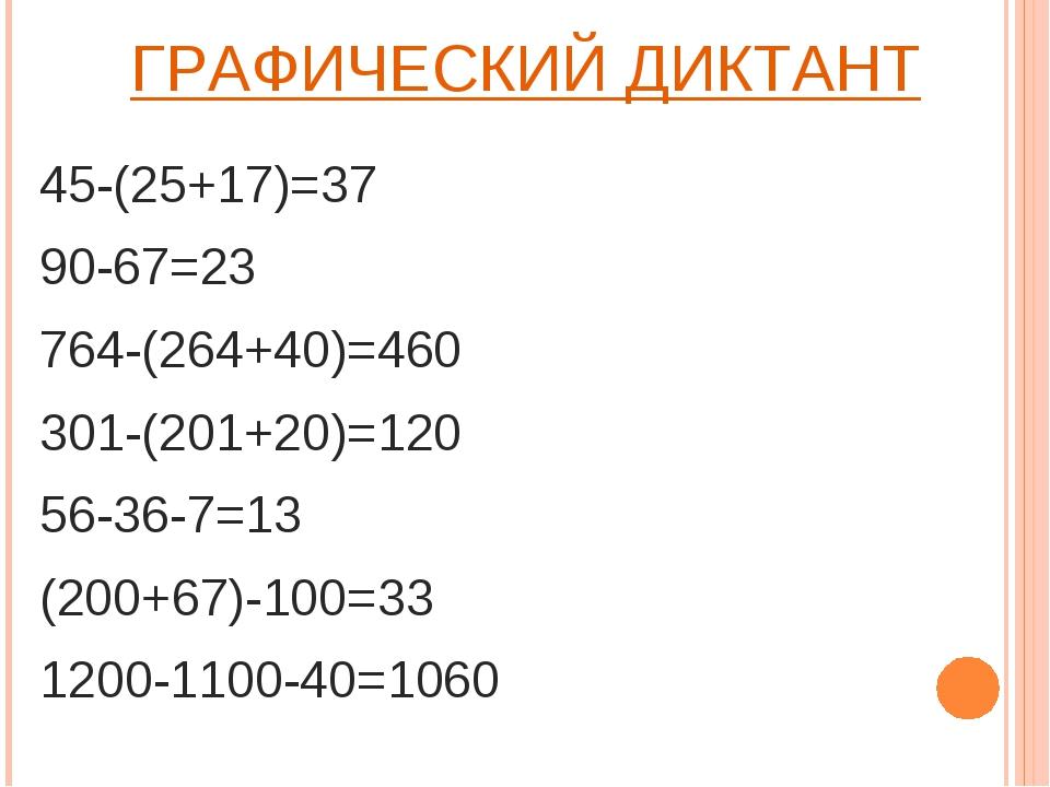 ГРАФИЧЕСКИЙ ДИКТАНТ 45-(25+17)=37 90-67=23 764-(264+40)=460 301-(201+20)=120...