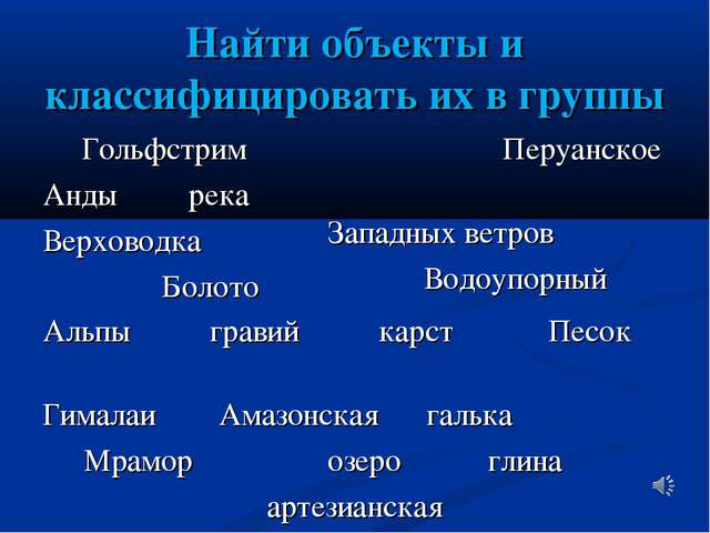 Найти объекты и классифицировать их в группы Гольфстрим Анды река Верховодка...