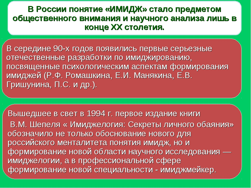 В России понятие «ИМИДЖ» стало предметом общественного внимания и научного ан...