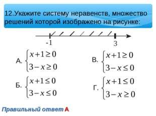 12.Укажите систему неравенств, множество решений которой изображено на рисунк