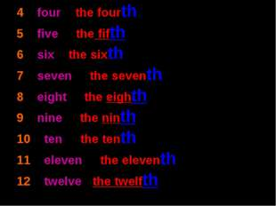 4 – four - the fourth 5 – five - the fifth 6 – six - the sixth 7 – seven - th