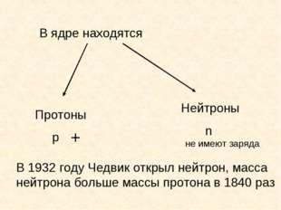 В ядре находятся Протоны p Нейтроны n + не имеют заряда В 1932 году Чедвик от