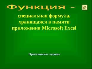 специальная формула, хранящаяся в памяти приложения Microsoft Excel Практичес