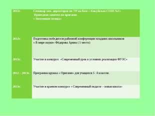 2012г. Семинар зам. директоров по УР на базе « Кокуйская СОШ №1» Проведено
