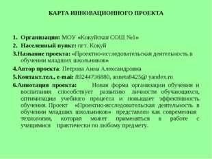КАРТА ИННОВАЦИОННОГО ПРОЕКТА Организация: МОУ «Кокуйская СОШ №1» Населенный п