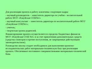 Для реализации проекта в работу вовлечены следующие кадры: - научный руководи