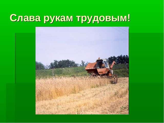 Слава рукам трудовым!