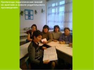 Пропаганда педагогических знаний на занятиях в «Школе родительского просвещен