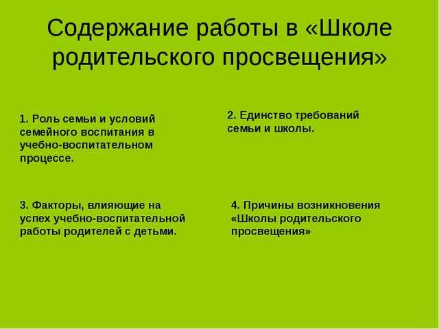 Содержание работы в «Школе родительского просвещения» 1. Роль семьи и условий...