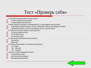 Тест «Проверь себя» 1. К какому классу растений относится капуста? К классу о