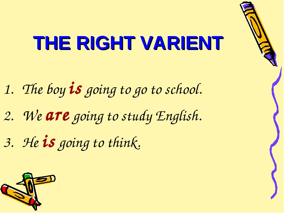 THE RIGHT VARIENT The boy is going to go to school. We are going to study Eng...