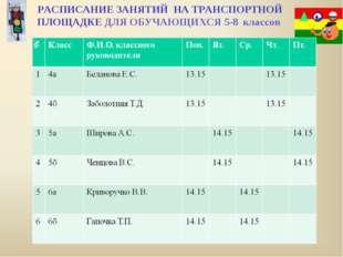 . РАСПИСАНИЕ ЗАНЯТИЙ НА ТРАНСПОРТНОЙ ПЛОЩАДКЕ ДЛЯ ОБУЧАЮЩИХСЯ 5-8 классов