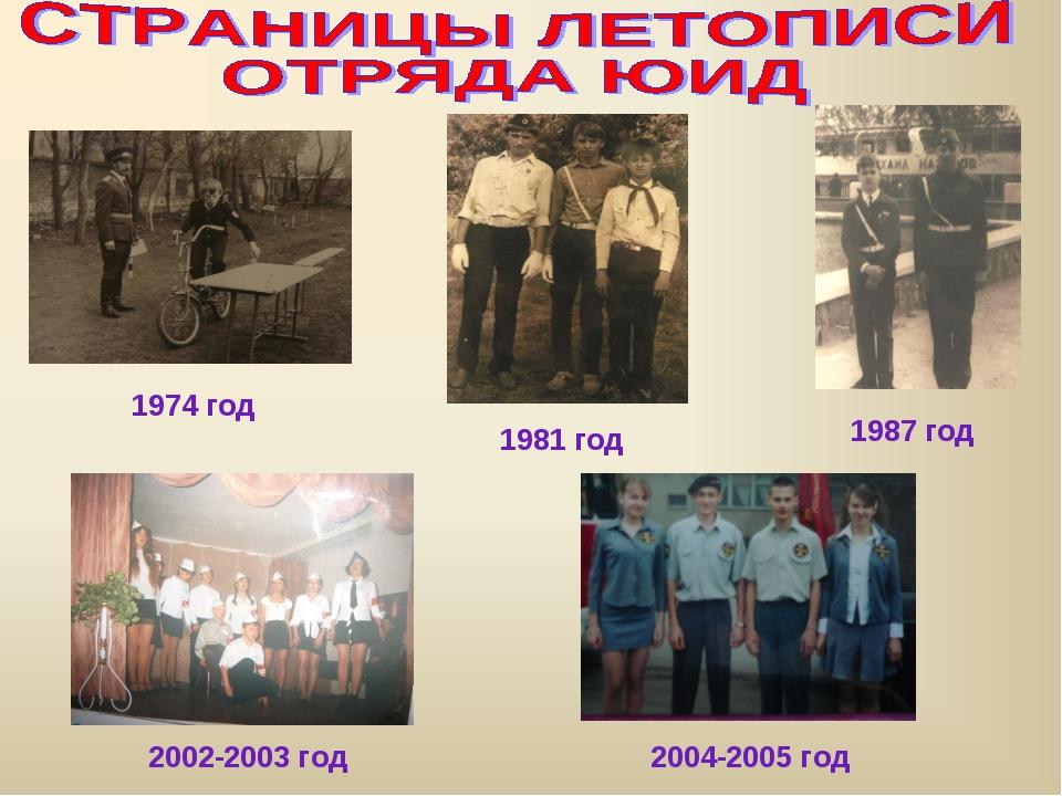 1974 год 1981 год 1987 год 2002-2003 год 2004-2005 год