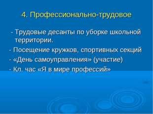 4. Профессионально-трудовое - Трудовые десанты по уборке школьной территории.
