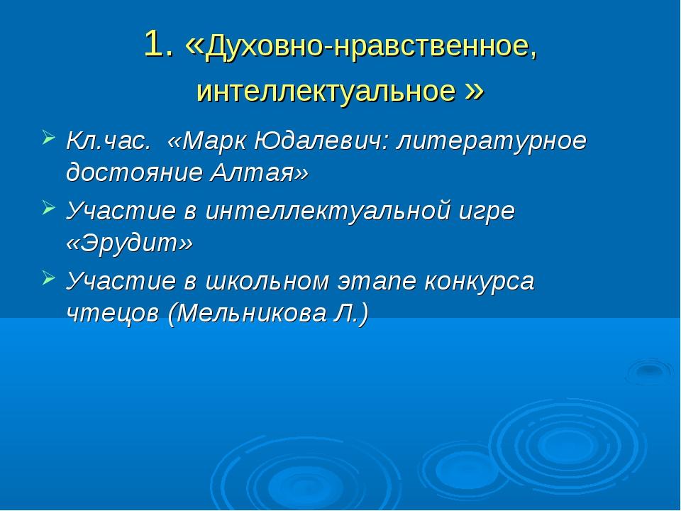 1. «Духовно-нравственное, интеллектуальное » Кл.час. «Марк Юдалевич: литерату...