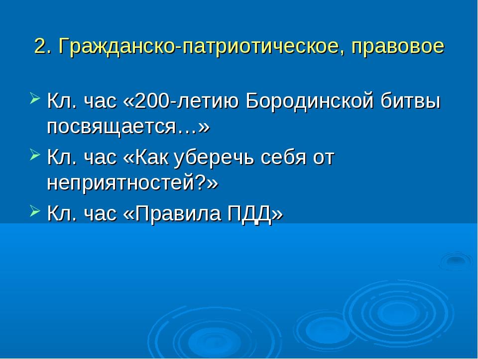 2. Гражданско-патриотическое, правовое Кл. час «200-летию Бородинской битвы п...