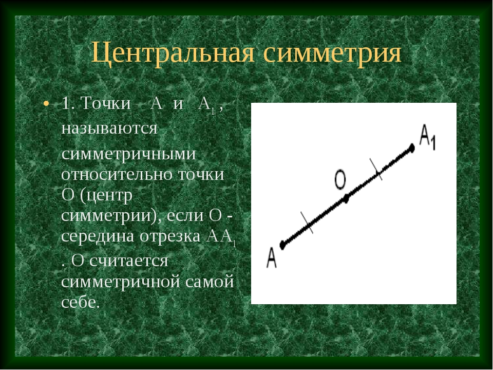 Центральная симметрия 1. Точки А и А1 , называются симметричными относительно...