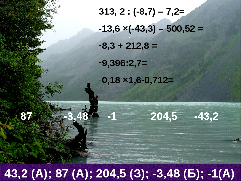 313, 2 : (-8,7) – 7,2= -13,6 ×(-43,3) – 500,52 = 8,3 + 212,8 = 9,396:2,7= 0,1...