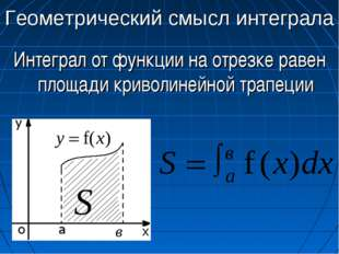 Геометрический смысл интеграла Интеграл от функции на отрезке равен площади к