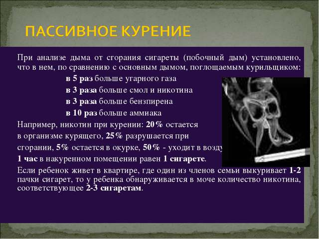 При анализе дыма от сгорания сигареты (побочный дым) установлено, что в нем,...