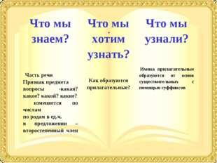 Что мы знаем?Что мы хотим узнать?Что мы узнали?  Часть речи Признак пред