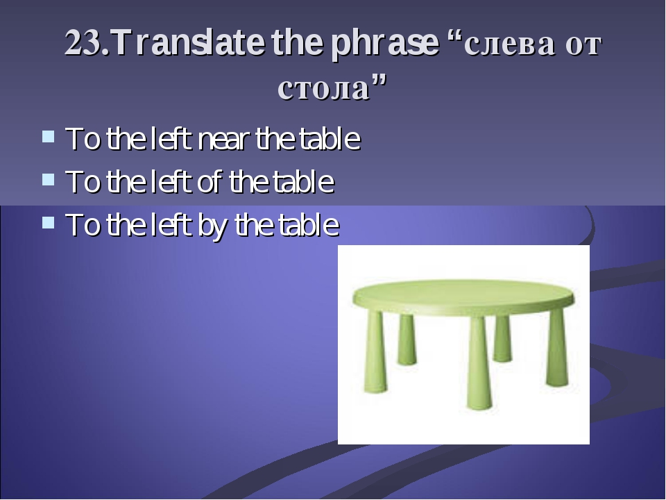 "23.Translate the phrase ""слева от стола"" To the left near the table To the le..."