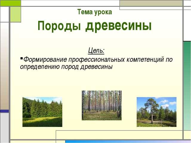 Тема урока Породы древесины Цель: Формирование профессиональных компетенций п...