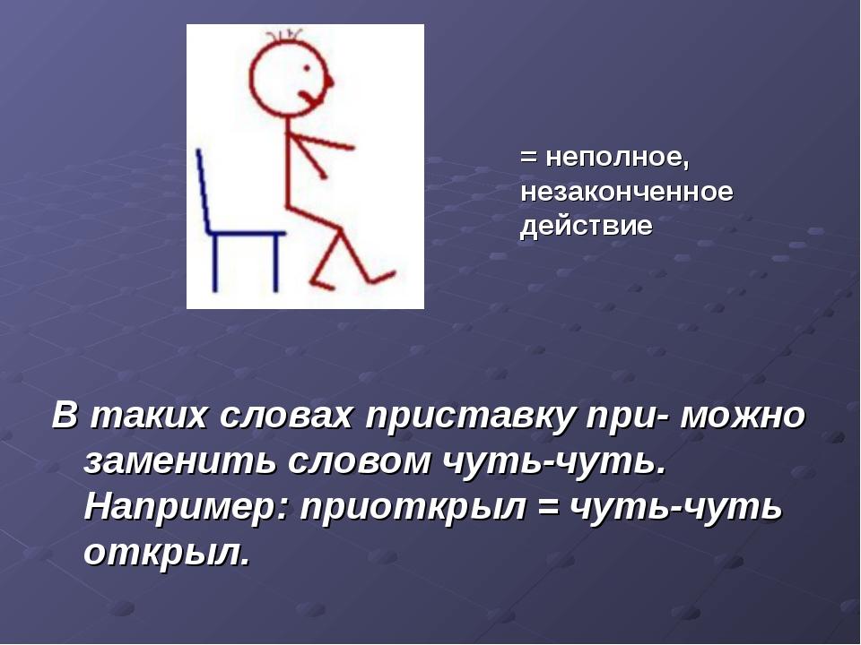 В таких словах приставку при- можно заменить словом чуть-чуть. Например: при...
