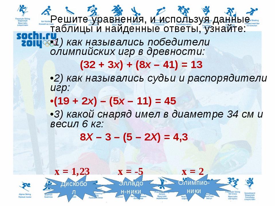 Решите уравнения, и используя данные таблицы и найденные ответы, узнайте: 1)...