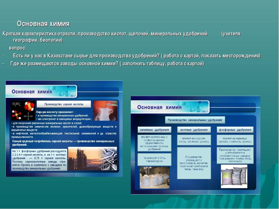 Основная химия Краткая характеристика отрасли, производство кислот, щелочей,...