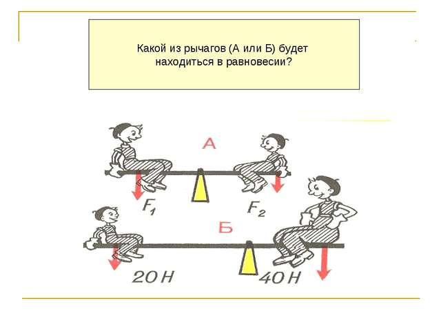 Какой из рычагов (А или Б) будет находиться в равновесии?