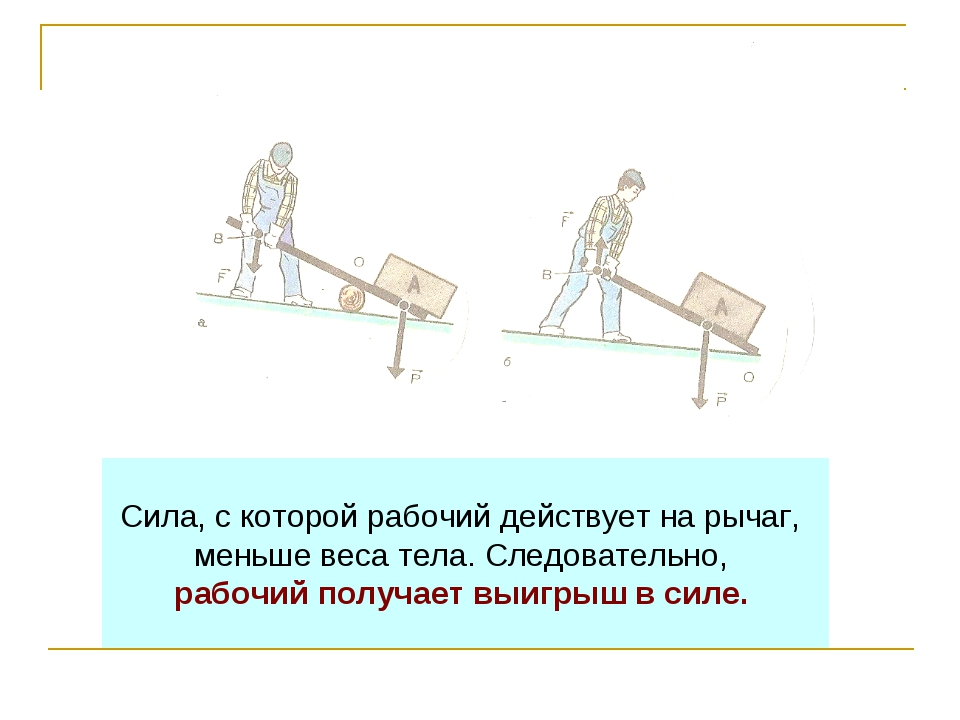 Сила, с которой рабочий действует на рычаг, меньше веса тела. Следовательно,...