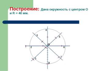Построение: Дана окружность с центром О и R = 40 мм. 1 3 2 4 5 6 7 8 О