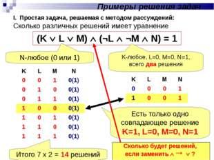 I. Простая задача, решаемая с методом рассуждений: Сколько различных решений