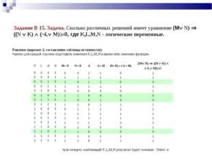 Задание В 15. Задача. Сколько различных решений имеет уравнение (M N)  ((N