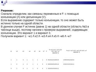Решение: Сначала определим, как связаны переменные в F: с помощью конъюнкции