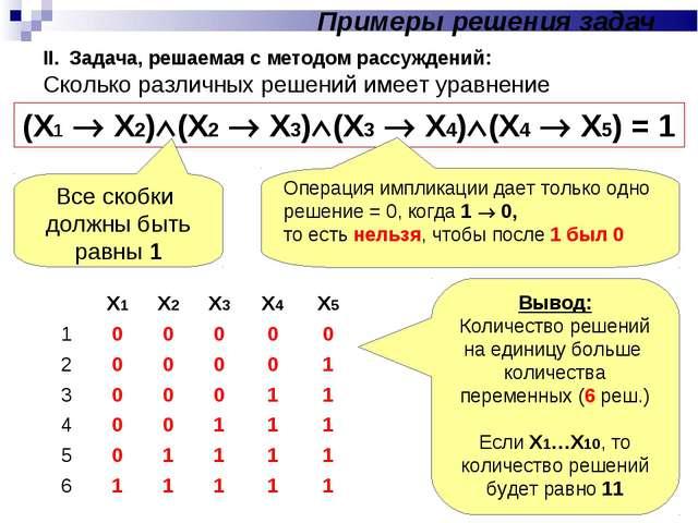 II. Задача, решаемая с методом рассуждений: Сколько различных решений имеет у...