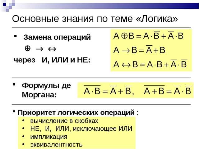Приоритет логических операций : вычисление в скобках НЕ, И, ИЛИ, исключающее...