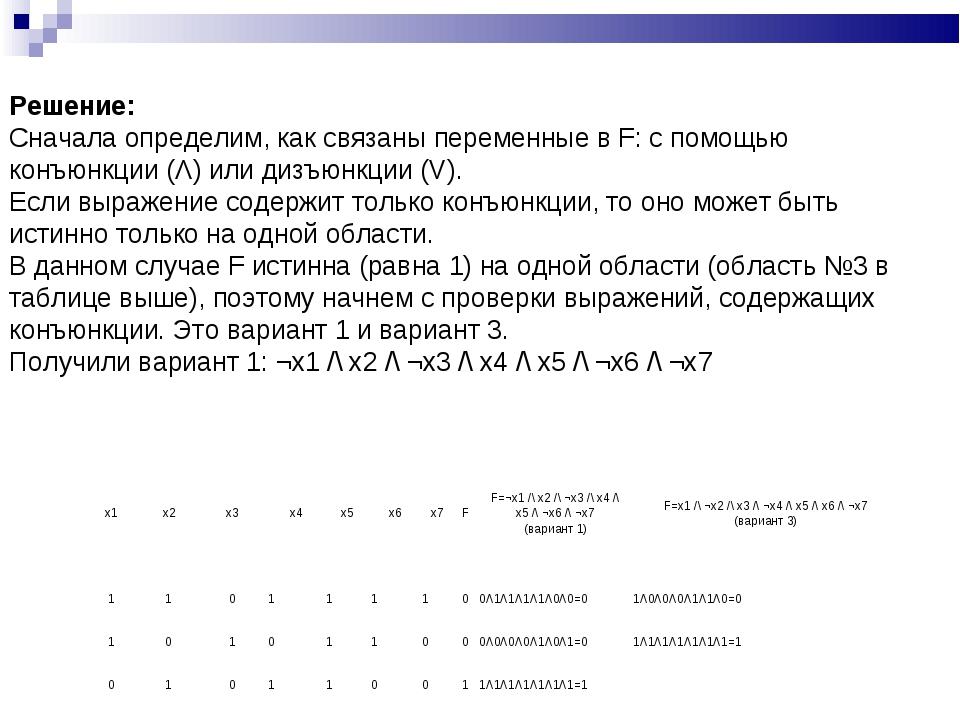 Решение: Сначала определим, как связаны переменные в F: с помощью конъюнкции...