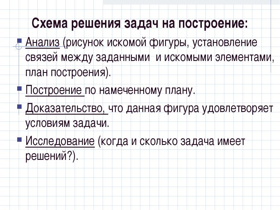 Схема решения задач на построение: Анализ (рисунок искомой фигуры, установлен...