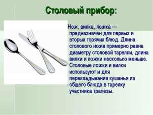 Столовый прибор: Нож, вилка, ложка— предназначен для первых и вторых горячих