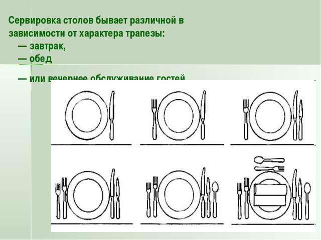 Сервировка столов бывает различной в зависимости от характера трапезы: —...