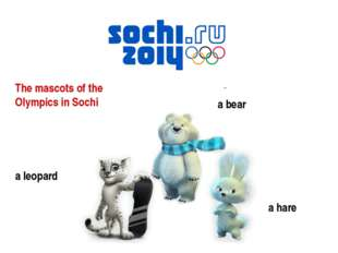 The mascots of the Olympics in Sochi a leopard a bear a hare