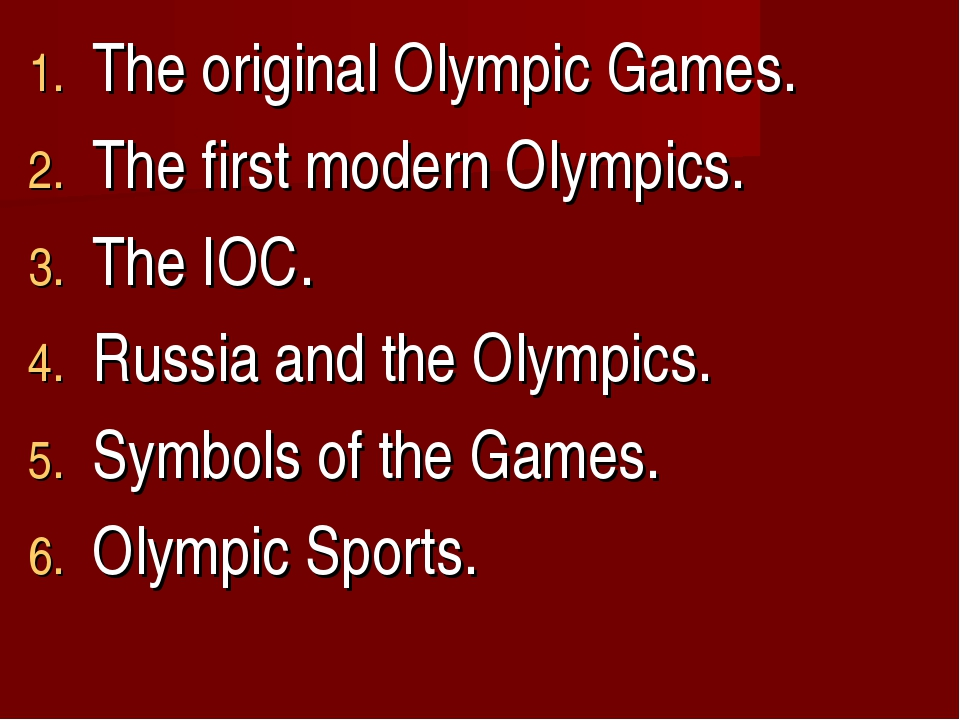 The original Olympic Games. The first modern Olympics. The IOC. Russia and th...