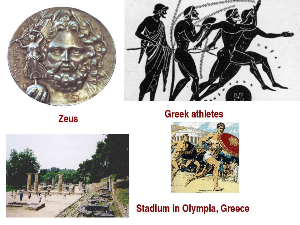 Stadium in Olympia, Greece Zeus Zeus Greek athletes