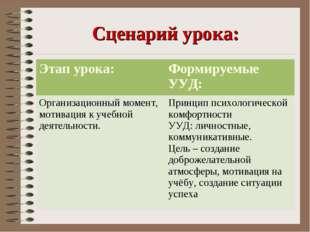 Сценарий урока: Этап урока:Формируемые УУД: Организационный момент, мотиваци