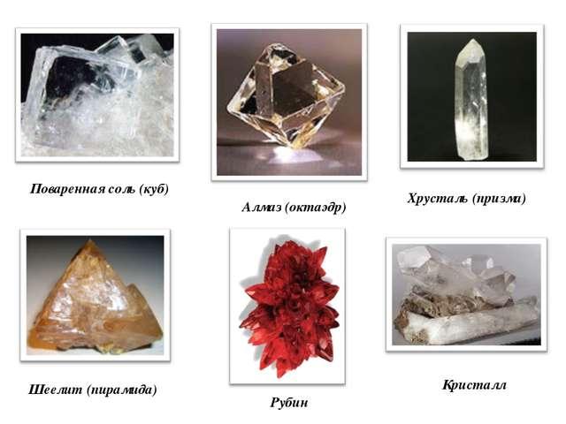 Алмаз (октаэдр) Поваренная соль (куб) Шеелит (пирамида) Хрусталь (призма) Кри...