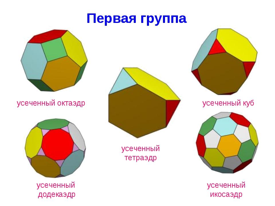 Первая группа усеченный тетраэдр усеченный куб усеченный октаэдр усеченный до...