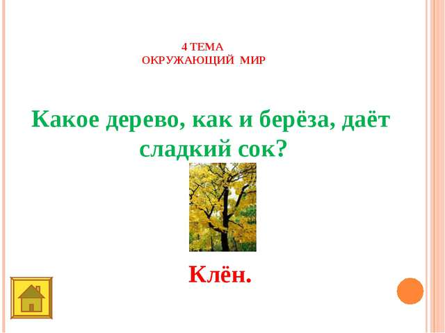 4 ТЕМА ОКРУЖАЮЩИЙ МИР 50 баллов Какое дерево, как и берёза, даёт сладкий сок?...