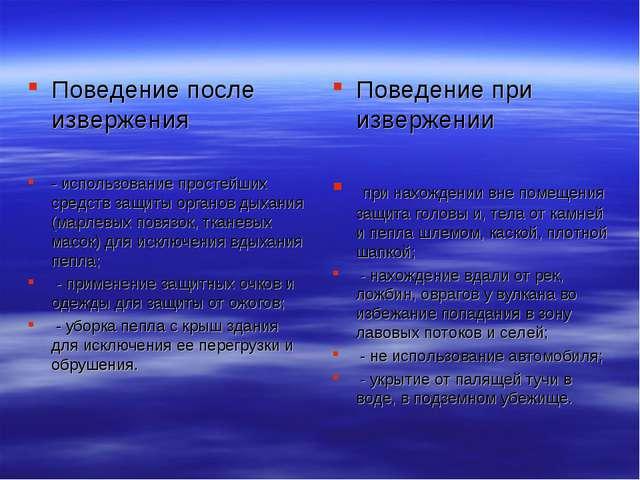Поведение после извержения - использование простейших средств защиты органов...